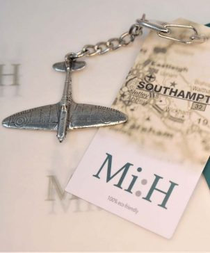 Spitfire pewter key ring souvenir from Southampton