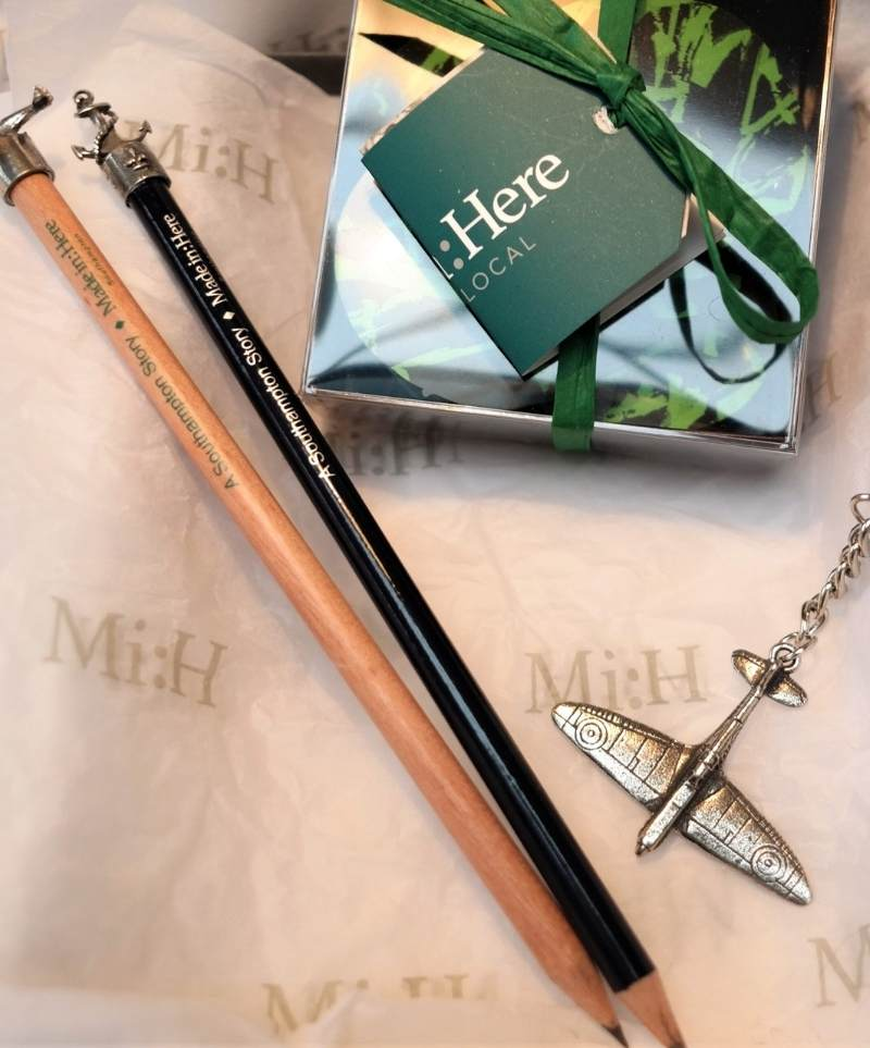 Southampton Heritage Gift Set shows two pencils with Anchor and Spitfire toppers plus a Spitfire key ring plus a small box of handmade mint chocolates