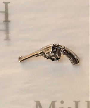 Ornate Hand Gun Pin Badge pewter