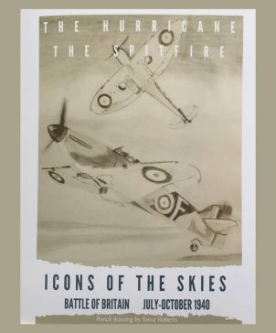 Spitfire Wall Art Print shows a pencil drawing of a Spitfire and Hurricane