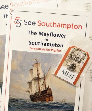 Mayflower in Southampton & Replica Pin